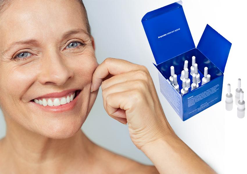 Haut-Erlebnis Serum-Seite Frau zupft Wange